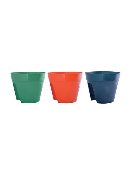 Set 3 portavasi a sella per ringhiera Diana, Materiale sintetico, Verde, arancione, blu, Ø 30 x Alt. 24 cm