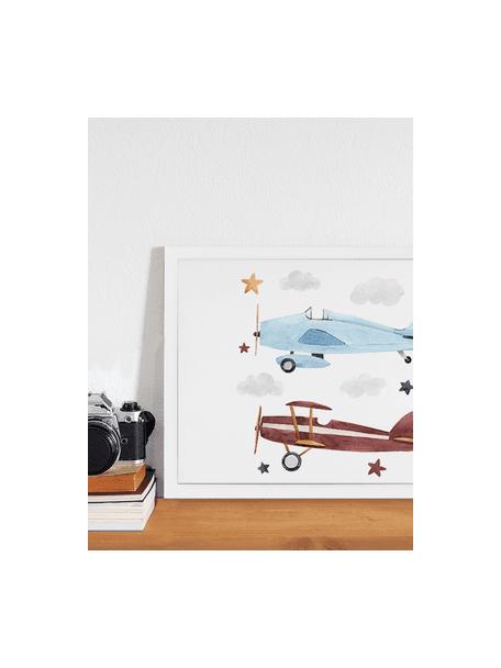 Stampa digitale incorniciata Planes, Immagine: stampa digitale su carta,, Cornice: legno verniciato, Bianco, blu, marrone, giallo, grigio, Larg. 43 x Alt. 33 cm