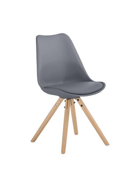 Krzesło z siedziskiem ze sztucznej skóry Max, 2 szt., Nogi: drewno bukowe, Ciemny szary, S 46 x G 54 cm