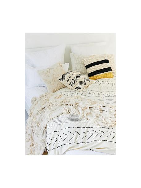 Kissenhülle Takala im Boho Style, 80% Wolle, 20% Baumwolle, Ecru, Schwarz, Gelb, 45 x 45 cm