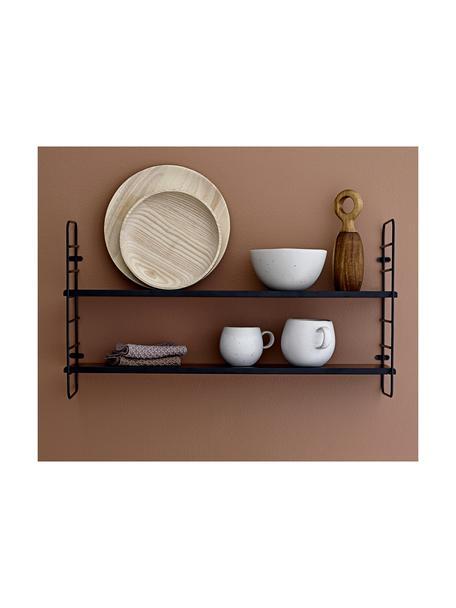 Libreria da parete con struttura in metallo North, Struttura: metallo verniciato, Ripiani: pannello di fibre a media, Nero, Larg. 65 x Alt. 35 cm