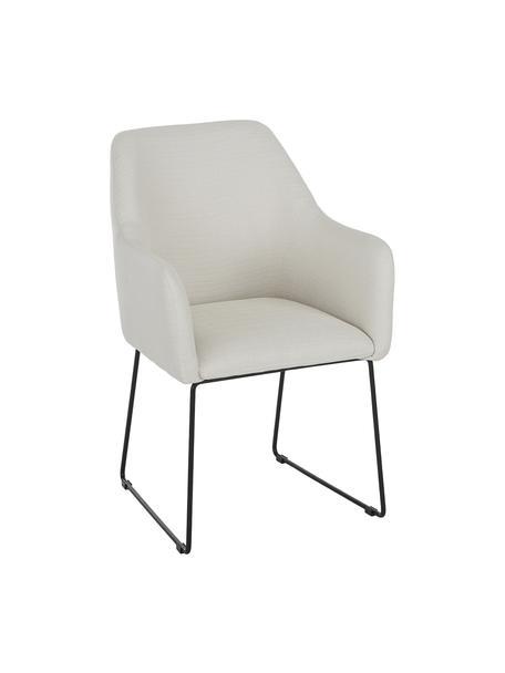 Sedia con braccioli Isla, Rivestimento: poliestere Con 50.000 cic, Gambe: metallo verniciato a polv, Tessuto bianco crema, gambe nere, Larg. 58 x Prof. 62 cm