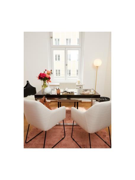 Armleunstoel Isla, Bekleding: polyester, Poten: gepoedercoat metaal, Geweven stof crèmewit, poten zwart, B 58 x D 62 cm