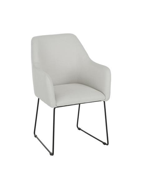 Krzesło z podłokietnikami Isla, Tapicerka: poliester Dzięki tkaninie, Nogi: metal malowany proszkowo, Kremowobiały, czarny, S 58 x G 62 cm