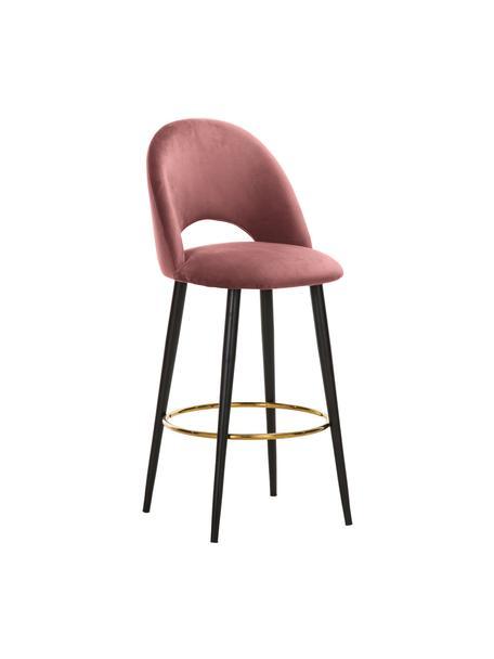 Taburete alto de terciopelo Rachel, Tapizado: terciopelo (poliéster) 50, Patas: metal con pintura en polv, Terciopelo rosa palo, An 48 x Al 110 cm
