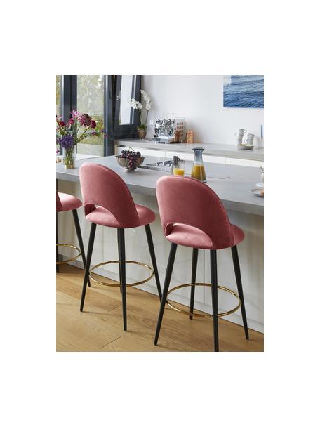 Taburete alto de terciopelo Rachel, Tapizado: terciopelo (tapizado de p, Patas: metal con pintura en polv, Terciopelo rosa palo, An 48 x Al 110 cm
