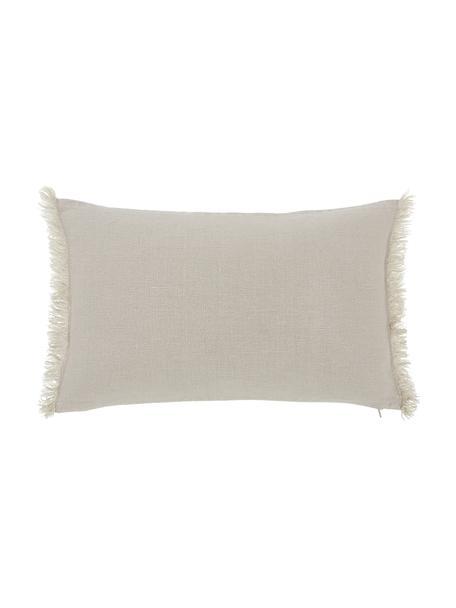 Linnen kussenhoes Luana in beige met franjes, 100% linnen, Beige, 30 x 50 cm