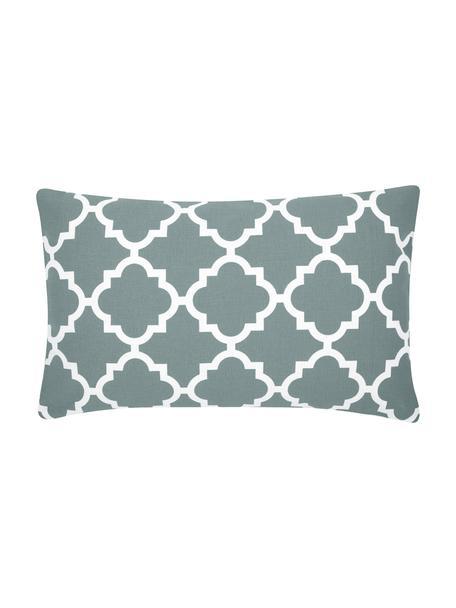Poszewka na poduszkę Lana, 100% bawełna, Szałwiowa zieleń, biały, S 30 x D 50 cm