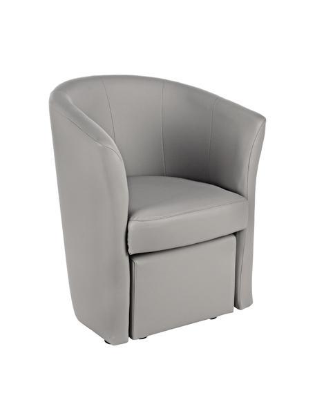 Fotel ze sztucznej skóry z pufem Rita, Tapicerka: sztuczna skóra (94% PVC, , Stelaż: drewno sosnowe, drewno wa, Szary, S 64 x G 60 cm