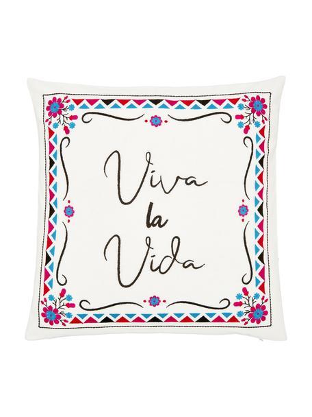 Funda de cojín bordada Viva la Vida, 100%algodón, Blanco crema, multicolor, An 45 x L 45 cm
