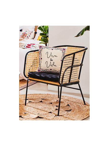 Haftowana poszewka na poduszkę Viva la Vida, 100% bawełna, Kremowobiały, wielobarwny, S 45 x D 45 cm