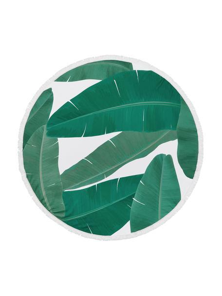 Telo mare con stampa tropicale Banan, 55% poliestere, 45% cotone Qualità molto leggera 340 g/m², Verde, bianco, Ø 150 cm