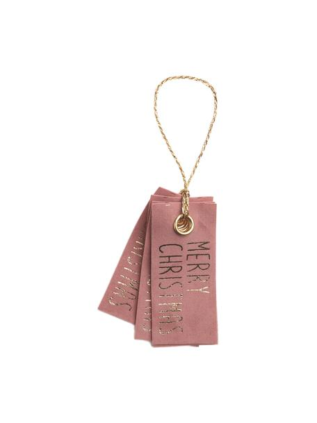 Geschenkanhänger Vellu, 6 Stück, 50% Polyester, 40% Rayon, 10% Haftmittel, Rosa, Goldfarben, 3 x 7 cm