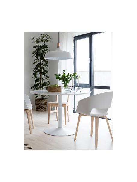 Okrągły stół do jadalni Mallorca, Blat: płyta pilśniowa średniej , Nogi: metal malowany proszkowo, Biały, Ø 110 cm