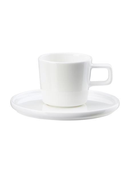Tazzina da caffè con piattino in Fine Bone China Oco 6 pz, Fine Bone China (porcellana) La Fine Bone China è una porcellana a pasta morbida particolarmente caratterizzata dalla sua lucentezza radiosa e traslucida, Avorio, Ø 6 cm