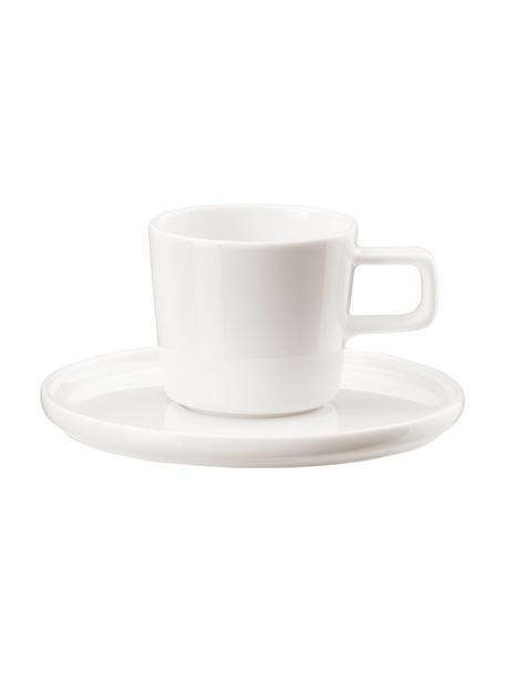 Beenderporselein espresso kopjes Oco met schoteltjes, 6 stuks, Beenderporselein (porselein) Fine Bone China is een zacht porselein, dat zich vooral onderscheidt door zijn briljante, doorschijnende glans., Ivoorkleurig, Ø 6 cm