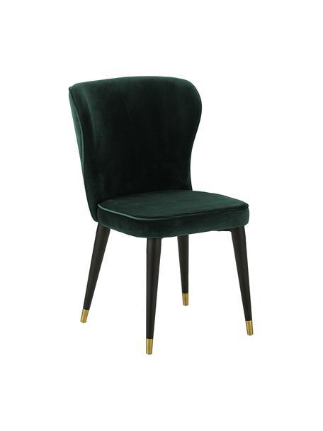 Sedia imbottita in velluto verde scuro Cleo, Rivestimento: velluto (poliestere) Con , Gambe: metallo, verniciato, Velluto verde scuro, Larg. 51 x Prof. 62 cm