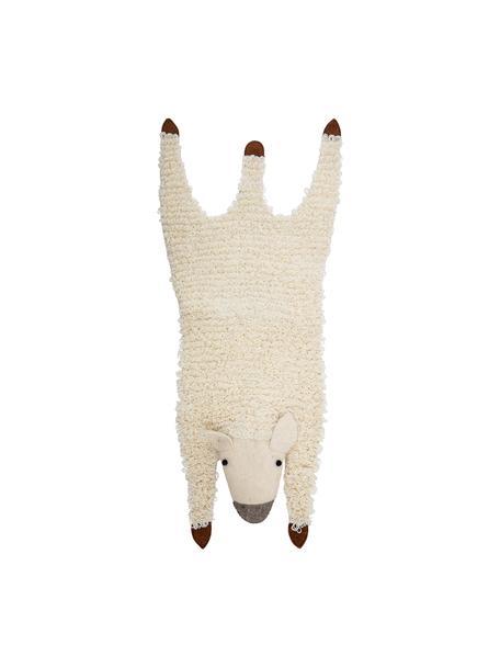 Wollen vloerkleed Becky, Bekleding: 100% wol, Crèmewit, bruin, grijs, 50 x 120 cm