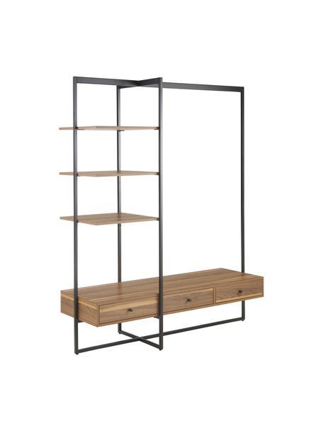Armario abierto de madera y metal Pacey, Estructura: metal con pintura en polv, Negro, An 150 x Al 180 cm
