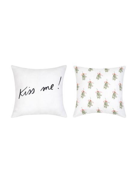 Designer Kissenhüllen Mistletoe von Kera Till, 2er-Set, Baumwolle, Grün, Rot, Schwarz, Weiß, 40 x 40 cm
