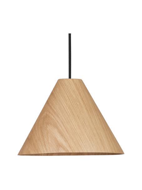 Lampa wisząca z drewna Wera, Drewno naturalne, czarny, Ø 25 x W 17 cm