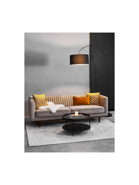Fluwelen bank Dante (3-zits) in beige met houten poten, Bekleding: polyesterfluweel, Frame: gelakt rubberhout, Beige, B 210 x D 87 cm