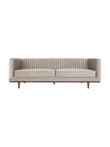 Sofá de terciopelo Dante (3plazas), Tapizado: terciopelo de poliéster, Estructura: madera de caucho lacada, Terciopelo beige, An 210 x F 87 cm