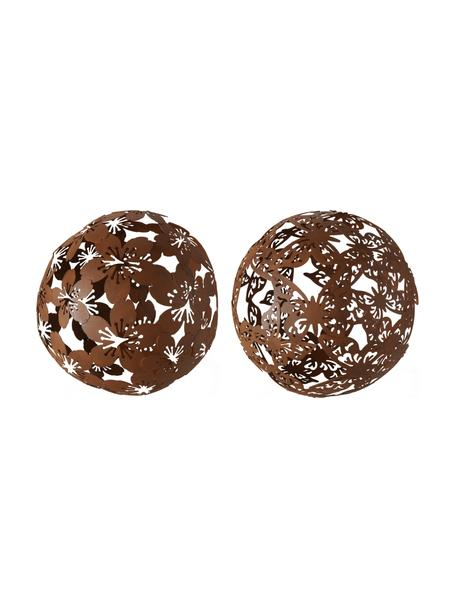 Decoratieve objectenset Marella, 2-delig, Gecoat metaal, Bruin, Ø 19 x H 19 cm