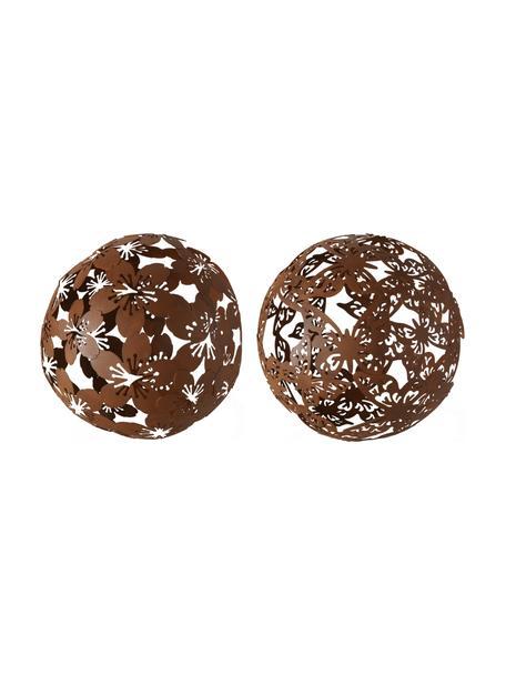 Set 2 oggetti decorativi Marella, Metallo rivestito, Marrone, Ø 19 x Alt. 19 cm