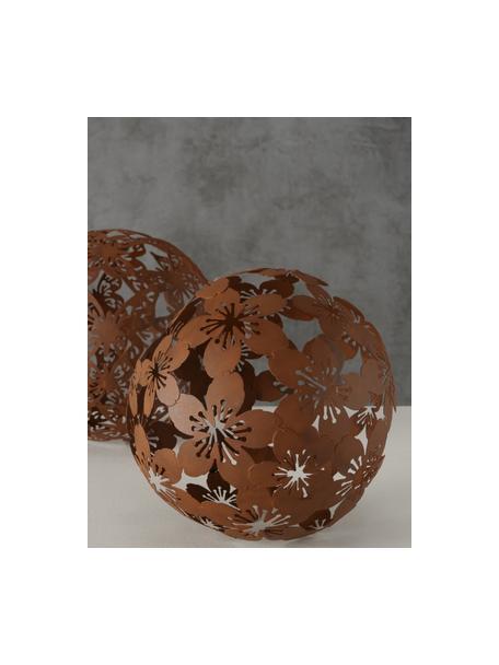 Deko-Objekt-Set Marella, 2-tlg., Metall, beschichtet, Braun, Ø 19 x H 19 cm