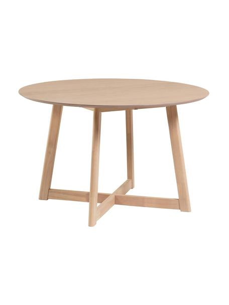 Okrągły składany stół do jadalni Maryse, Blat: płyta pilśniowa średniej , Nogi: lite drewno kauczukowe, Biały, Ø 120 x W 75 cm