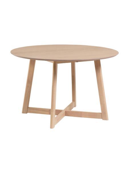 Tavolo rotondo pieghevole con finitura in quercia Maryse, Ø120 cm, Piano d'appoggio: pannelli di fibra a media, Gambe: legno di caucciù massicci, Bianco, Ø 120 x Alt. 75 cm