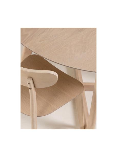 Tavolo rotondo pieghevole con finitura in quercia Maryse, Piano d'appoggio: pannelli di fibra a media, Gambe: legno di caucciù massicci, Bianco, Ø 120 x Alt. 75 cm