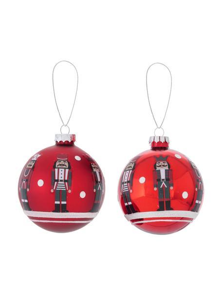 Weihnachtskugeln Nutcracker Ø 8 cm, 2 Stück, Rot, Weiß, Schwarz, Ø 8 cm