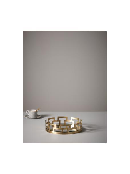 Vassoio decorativo Mallis, Cornice: metallo rivestito, Superficie: lastra di vetro, Ottonato, Ø 31 x Alt. 8 cm