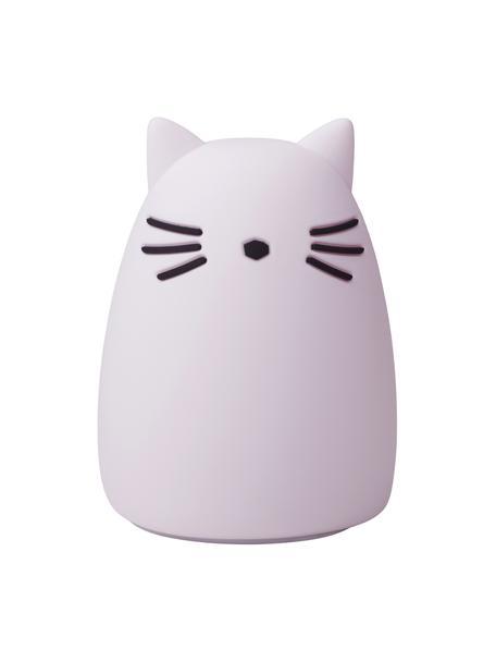 Figura luminosa LED Winston Cat, 100%silicona, Lila, negro, Ø 11 x Al 14 cm