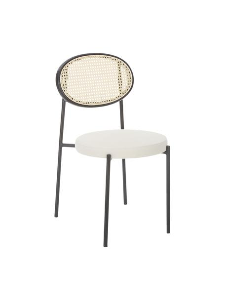 Gestoffeerde stoelen Niko met Weens vlechtwerk, 2 stuks, Zitvlak: polyurethaan, multiplex, Frame: metaal, Wit, 54 x 84 cm