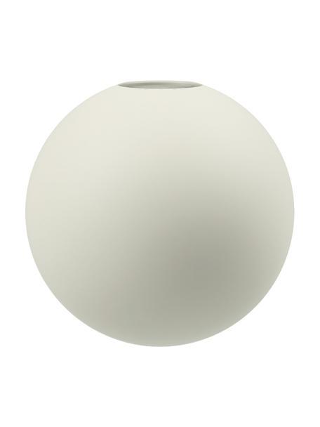 Jarrón artesanal Ball, Cerámica, Vainilla, Ø 10 x Al 10 cm