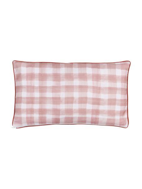 Funda de cojín doble cara Check, diseño Candice Gray, 100%algodón, certificado GOTS, Rosa, An 30 x L 50 cm