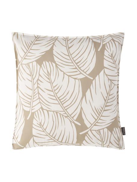 Kissenhülle Raul mit Blättermotiven, 100% Baumwolle, Sandfarben, gebrochenes Weiß, 50 x 50 cm
