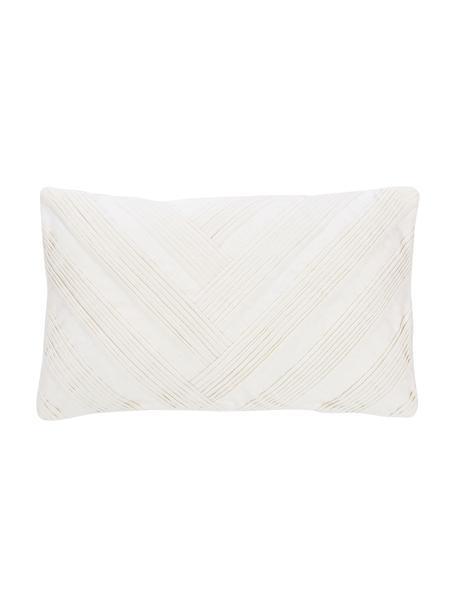 Kissenhülle Maya in Weiß mit Strukturmuster, 55% Leinen, 45% Baumwolle, Weiß, 30 x 50 cm