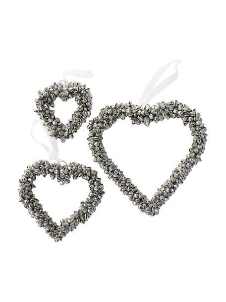 Set 3 cuori decorativi argentati Halina, Metallo, bianco, Set in varie misure