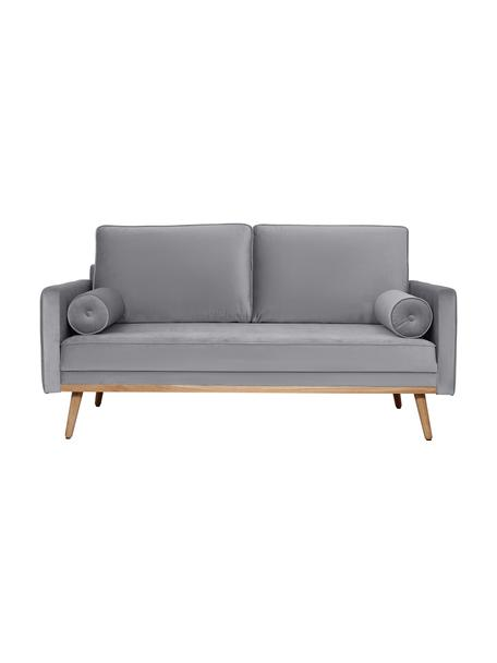Sofa z aksamitu z nogami z drewna dębowego Saint (2-osobowa), Tapicerka: aksamit (poliester) Dzięk, Aksamitny szary, S 169 x G 87 cm