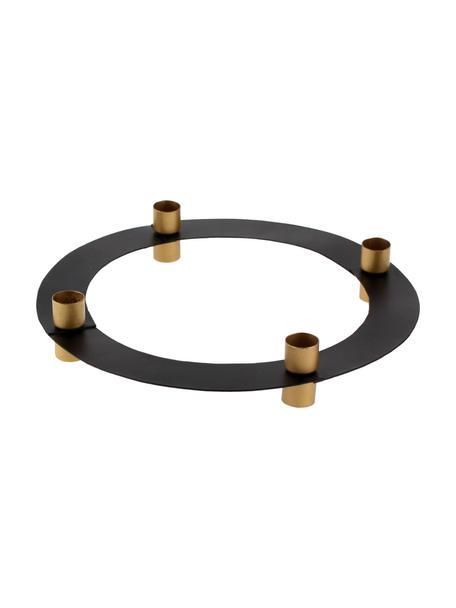 Adventskaarsenhouder Fyra, Gecoat metaal, Zwart, goudkleurig, Ø 30 x H 9 cm