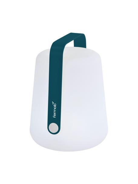 Mobile Dimmbare Außentischlampe Balad, Lampenschirm: Polyethylen, Griff: Aluminium, lackiert, Weiß, Acapulcoblau, Ø 19 x H 25 cm