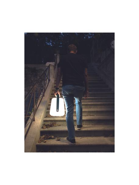 Lámpara de mesa regulable para exterior Balad, portátil, Pantalla: polietileno, Asa: aluminio, pintado, Blanco, azul acapulco, Ø 19 x Al 25 cm