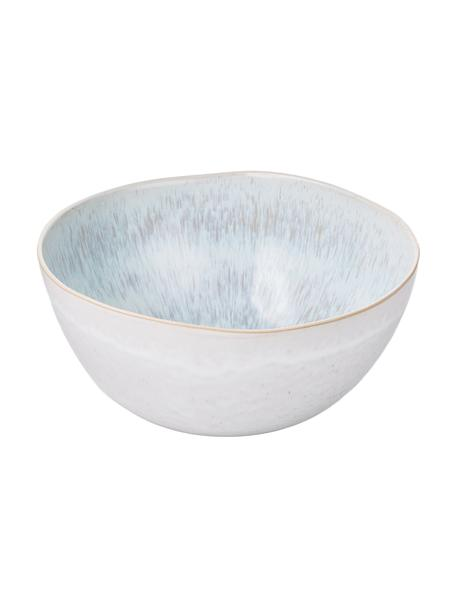 Handbemalte Salatschüssel Areia mit reaktiver Glasur, Ø 26 cm, Steingut, Hellblau, Gebrochenes Weiß, Hellbeige, Ø 26 x H 12 cm