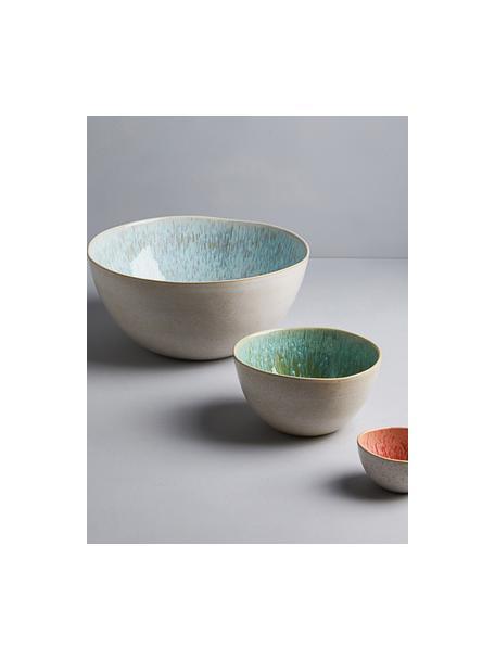 Handbeschilderde saladeschaal Areia met reactief glazuur, Ø 26 cm, Keramiek, Lichtblauw, gebroken wit, lichtbeige, Ø 26 x H 12 cm