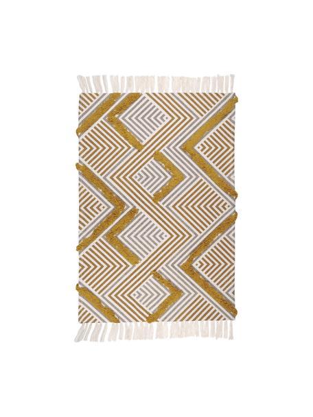 Tappetino etnico con motivo a rilievo e frange Chicago, 100% cotone, Giallo senape, beige, crema, Larg. 60 x Lung. 90 cm (taglia XXS)