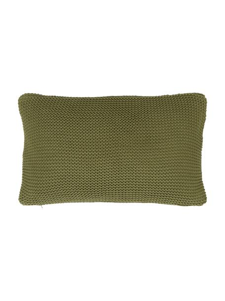 Strick-Kissenhülle Adalyn aus Bio-Baumwolle in Grün, 100% Bio-Baumwolle, GOTS-zertifiziert, Grün, 30 x 50 cm